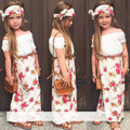 2017 Summer Girls Clothing Set T shirt + dress + scarf 3pcs / set floral collar lace suit children brand clothes flower Headband