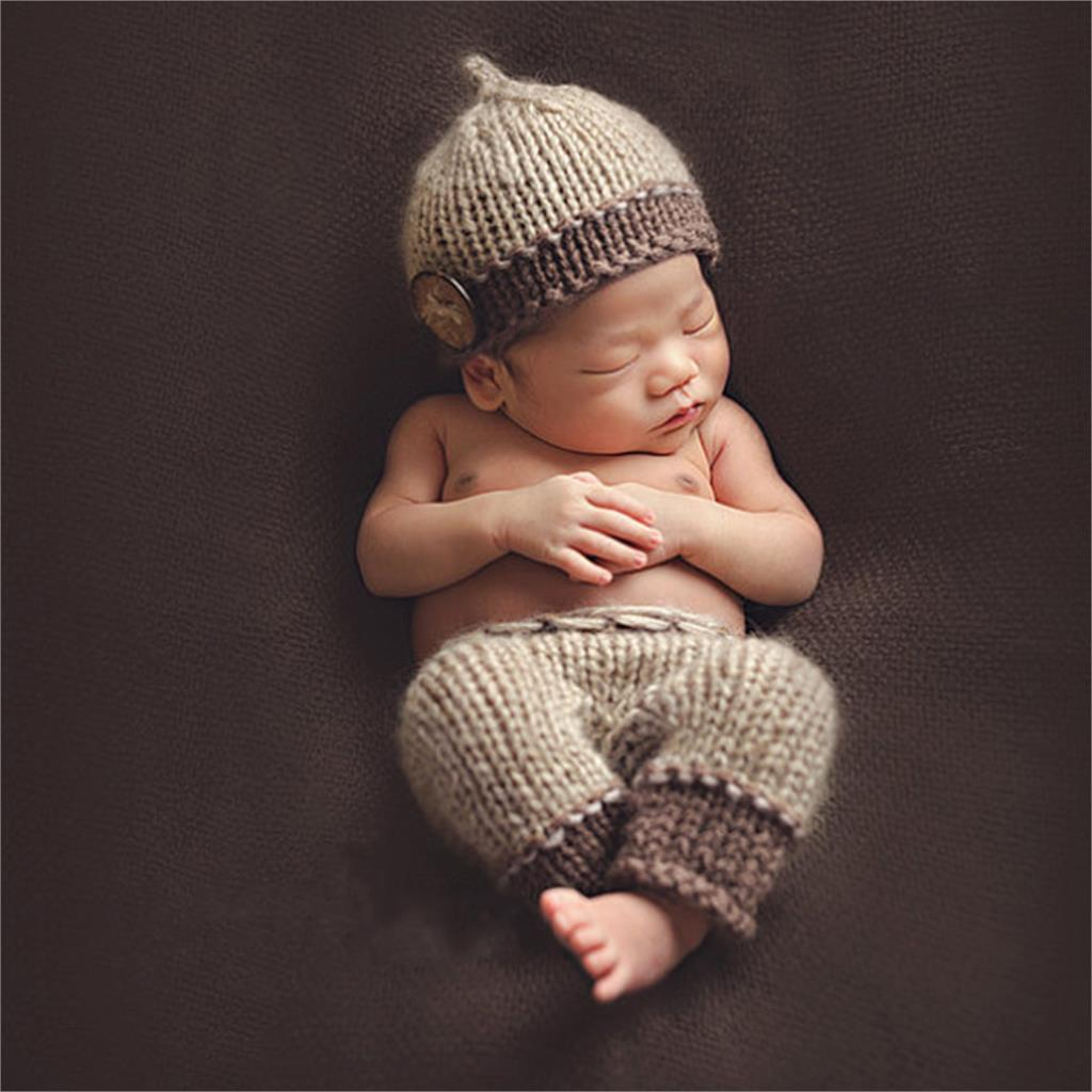 Hot Sale Newborn Baby Photography Props Soft Handmade Brown Knit Cute Baby Cap And Pants Set For Bebek Clothes 0-6 Months