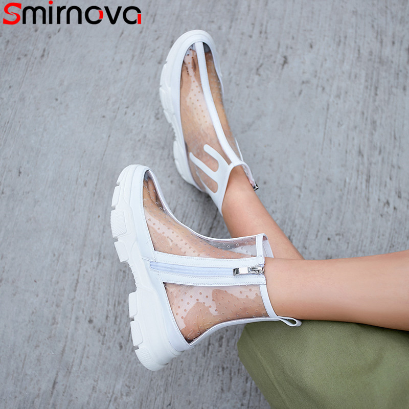 Smirnova 2019 summer ankle boots for women round toe zip PVC Hollowing out Ventilation ladies shoes flat platform shoes women-in Ankle Boots from Shoes    1