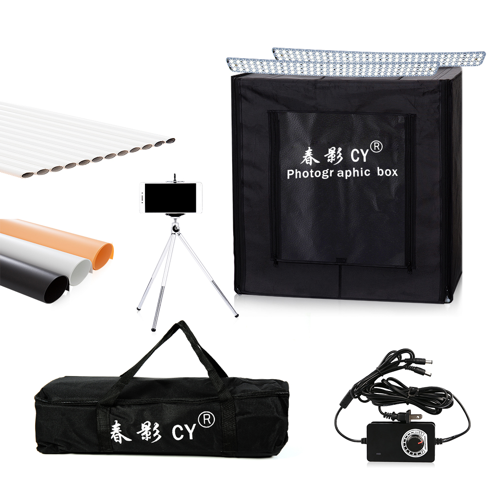 CY 50*50*50cm Photo Studio LED soft box Shooting Light Tent photo light tent set+portable bag +3 Backdrops+dimmer switch for toy