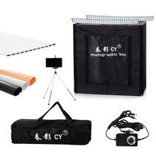 Cy 50*50*50 cm 사진 스튜디오 led 소프트 박스 슈팅 라이트 텐트 사진 라이트 텐트 세트 + 휴대용 가방 + 3 배경 + 장난감 조광기 스위치