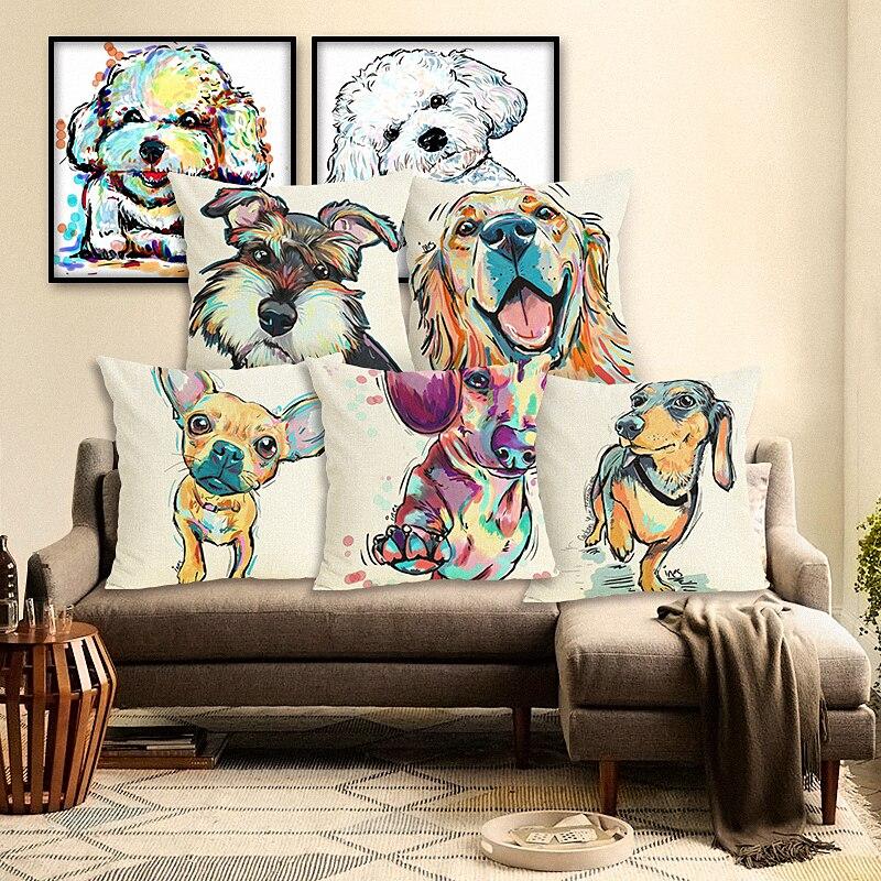2016 High Quality Creative Fashion Dog Home Decor Cojines Sofa Cushion Almofadas Cotton Linen Square