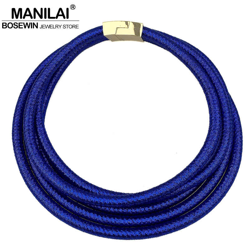 MANILAI 7 Colors Multilayers Chokers Necklaces Chunky Collar Magnetism Button Women Statement Necklace Maxi Jewelry