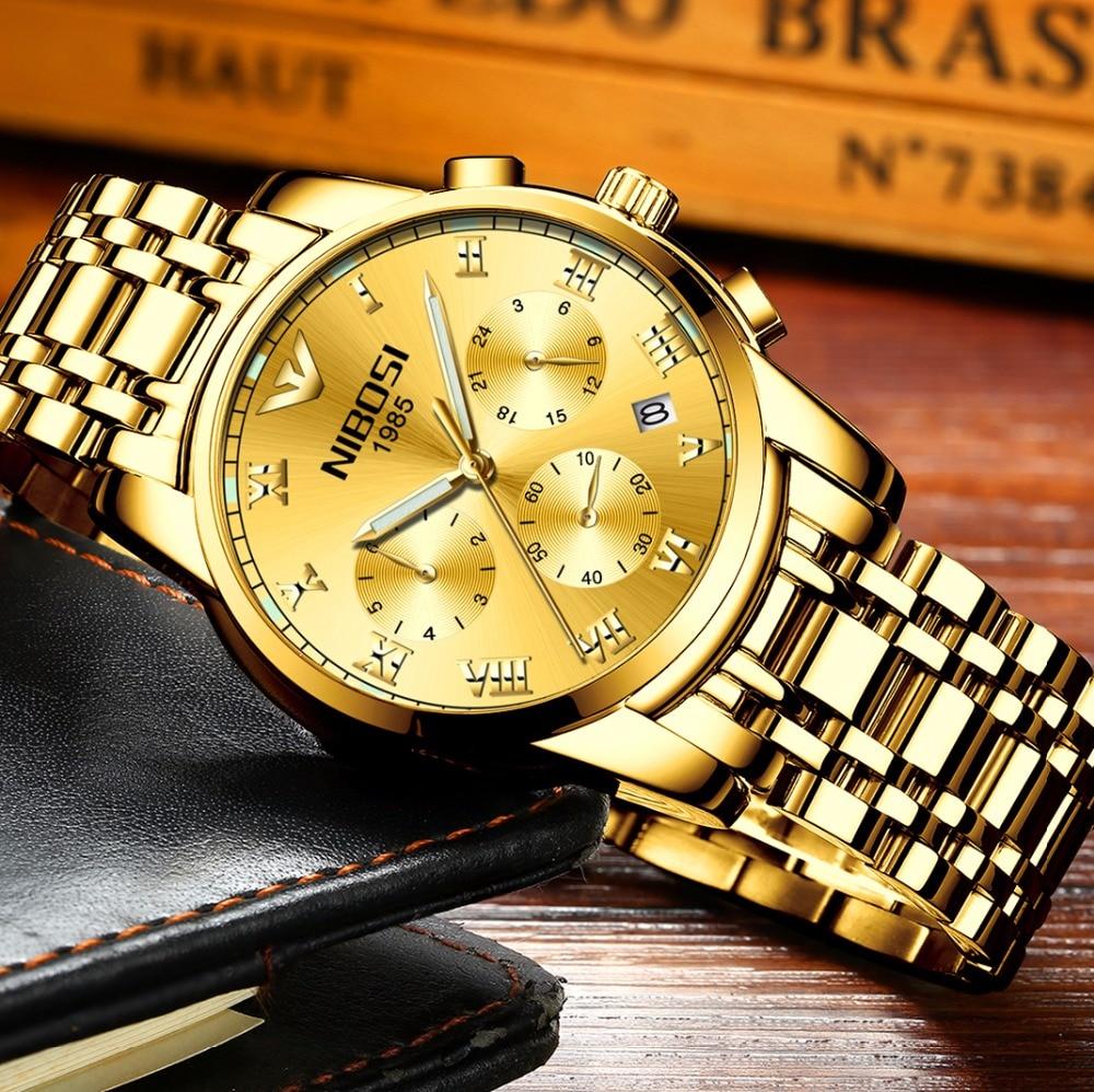 Original NIBOSI Luxury Gold Relogio Masculino Top Brand Men Golden Watch Military Army Analog Quartz Wristwatch For Businessman l 10 women s stylish petals style bracelet quartz analog wristwatch golden white 1 x lr626
