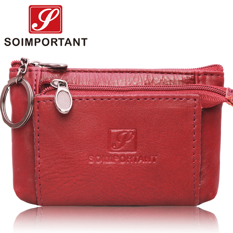 Boho Genuine Leather Women Coin Purses Mini Wallets Zipper Magic Credit Card Slim Walet Female Small Money Bags With Key Ring