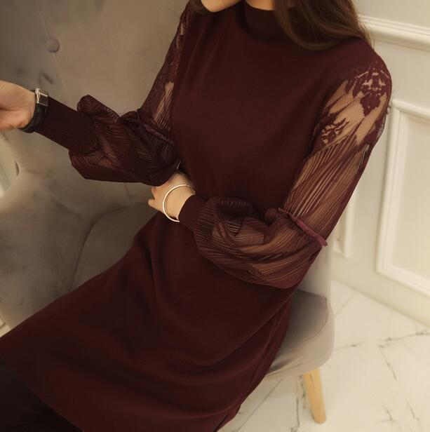 New sexy slim lace stitching women dress retro Lantern Sleeve Dress long section knitted sweater dress Winter spring dress
