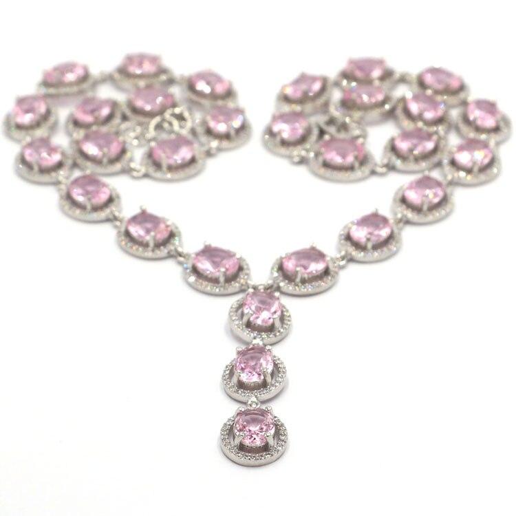 Takı ve Aksesuarları'ten Kolyeler'de Fantastik pembe künzit CZ SheCrown kadın düğün 925 gümüş kolye 18.0 18.5in 65x47mm'da  Grup 1