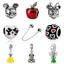 2018 Silver Plated Bead Cartoon Mouse Princess Dress Wallet Pendant Charm Beads Fit Pandora Women Diy Bracelets Bangles Jewelry(China)