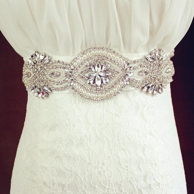 Ivory Satin Clear Rhinestones Sashes Belt For Brides Accesorios De Bodas Belts Formal Wedding Belt Cheap High Quality