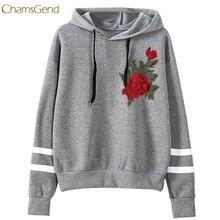 CHAMSGEND 2017 Hoodies Women Hoodies Winter Warm Women Hoodie Sweatshirts Womens Rose Embroidery Long Sleeve Hooded Sweatshirt