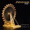2017 ICONX 3D Metal Puzzle Toys Brinquedos Piececool P043G London Eye Ferris Wheel Construction Jigsaw Puzzle 3D Toy For Adults