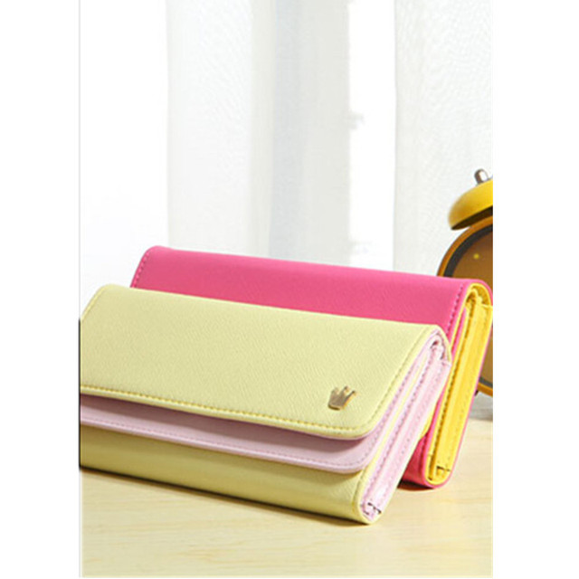 Candy Color Yellow Multi-Function PU Wallet Durable Ticket ID Card Credit Card Cash Holder Organizer Bag Hit Color