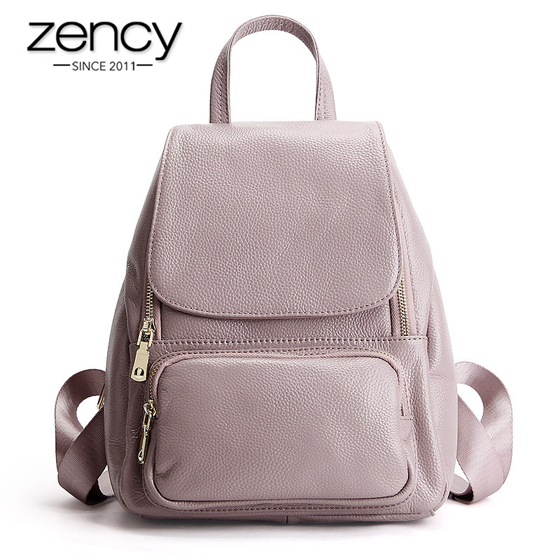 Zency High Quality 100% Genuine Leather Fashion Women Backpack Girl's Schoolbag Notebook Daily Casual Knapsack Female Travel Bag