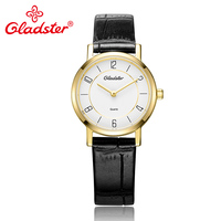 Gladster Genuine Leather Fashion Women Clock Japan MIYOTA Golden Quartz Wrist Watch Couple Watch for Woman