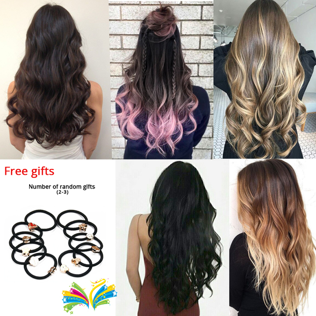 Leeons 22 Inch High Temperature Fiber Curly Synthetic 16 Clips In Hair Extensions For Women Hairpieces Ombre Brown Hair pieces 6