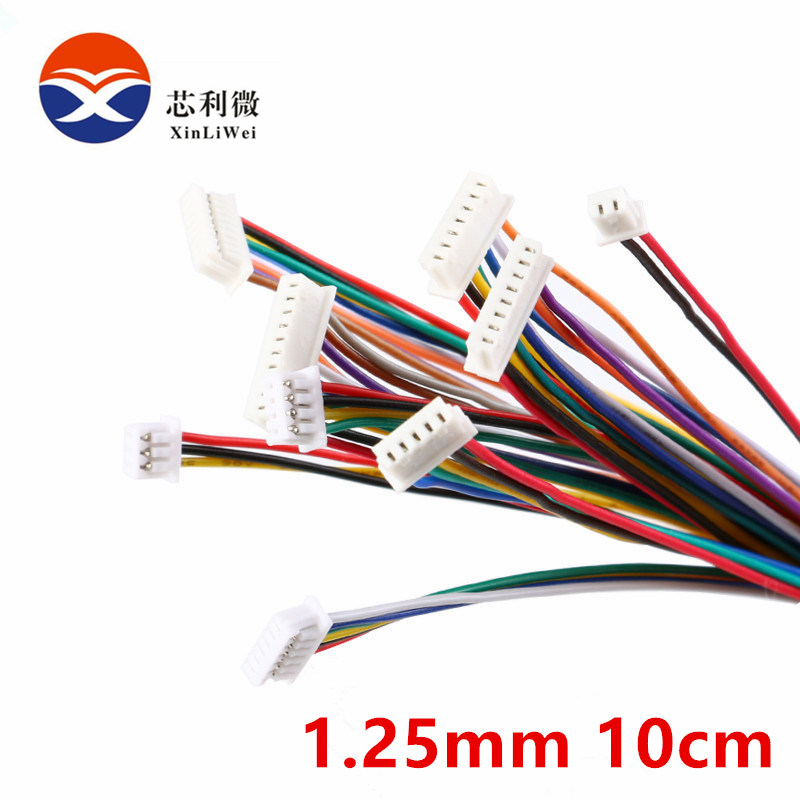 5Pcs Cable Connector XH 1.25 JST Double Electronic Wire Connectors 2/3/4/5/6/7/8/9/10 Pin 10cm DIY Line Forward Direction 28AWG цена 2017