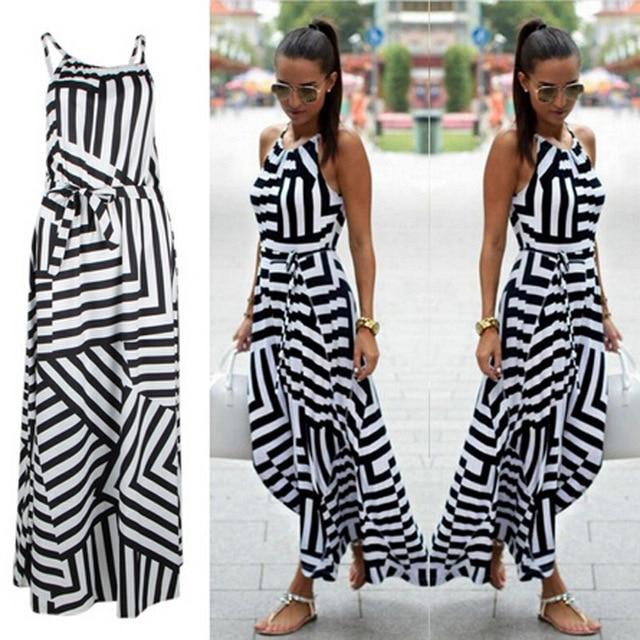 Summer New Maxi Long Dress New Fashion Women Sexy Boho Striped Sleeveless Beach Style Strap Sundress Vestidos 2019 Hot Sale 1