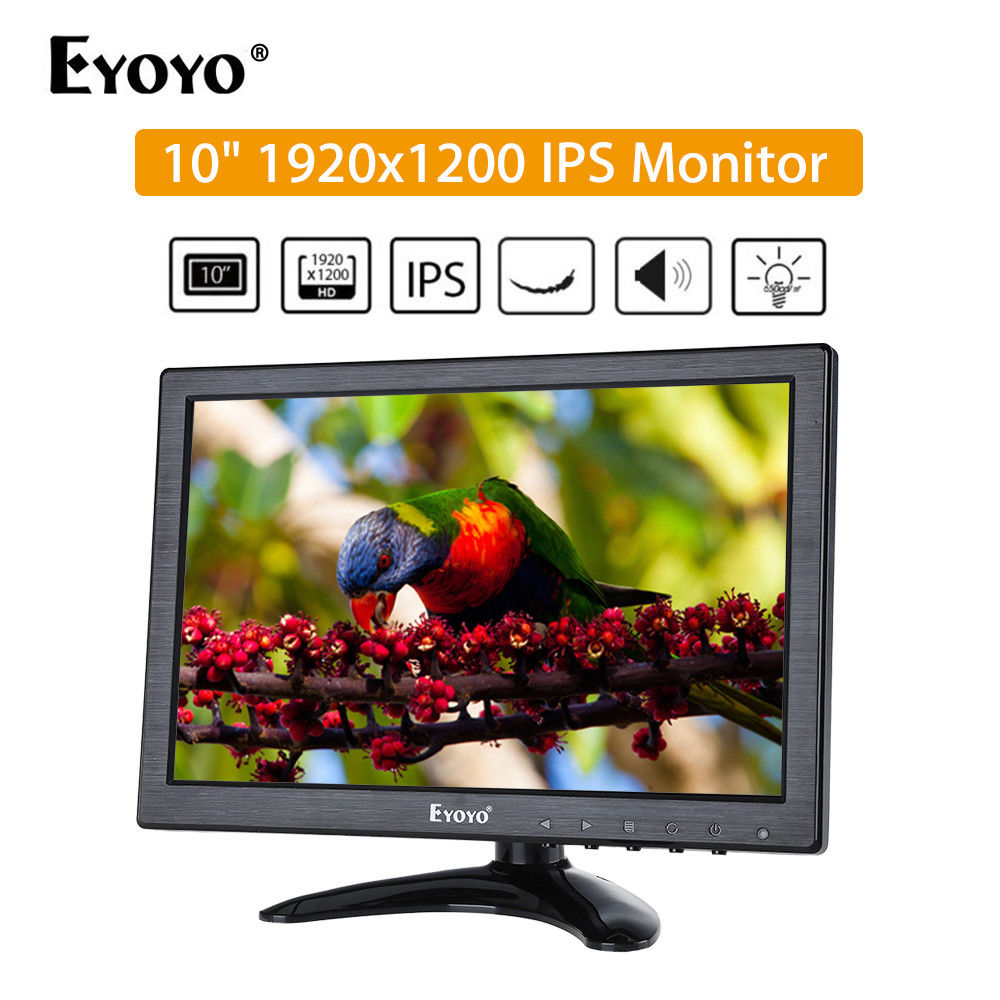 Eyoyo 10 Inch Full HD 1920*1200 Resolution IPS Monitor With BNC VGA AV HD Video Input 65 ...
