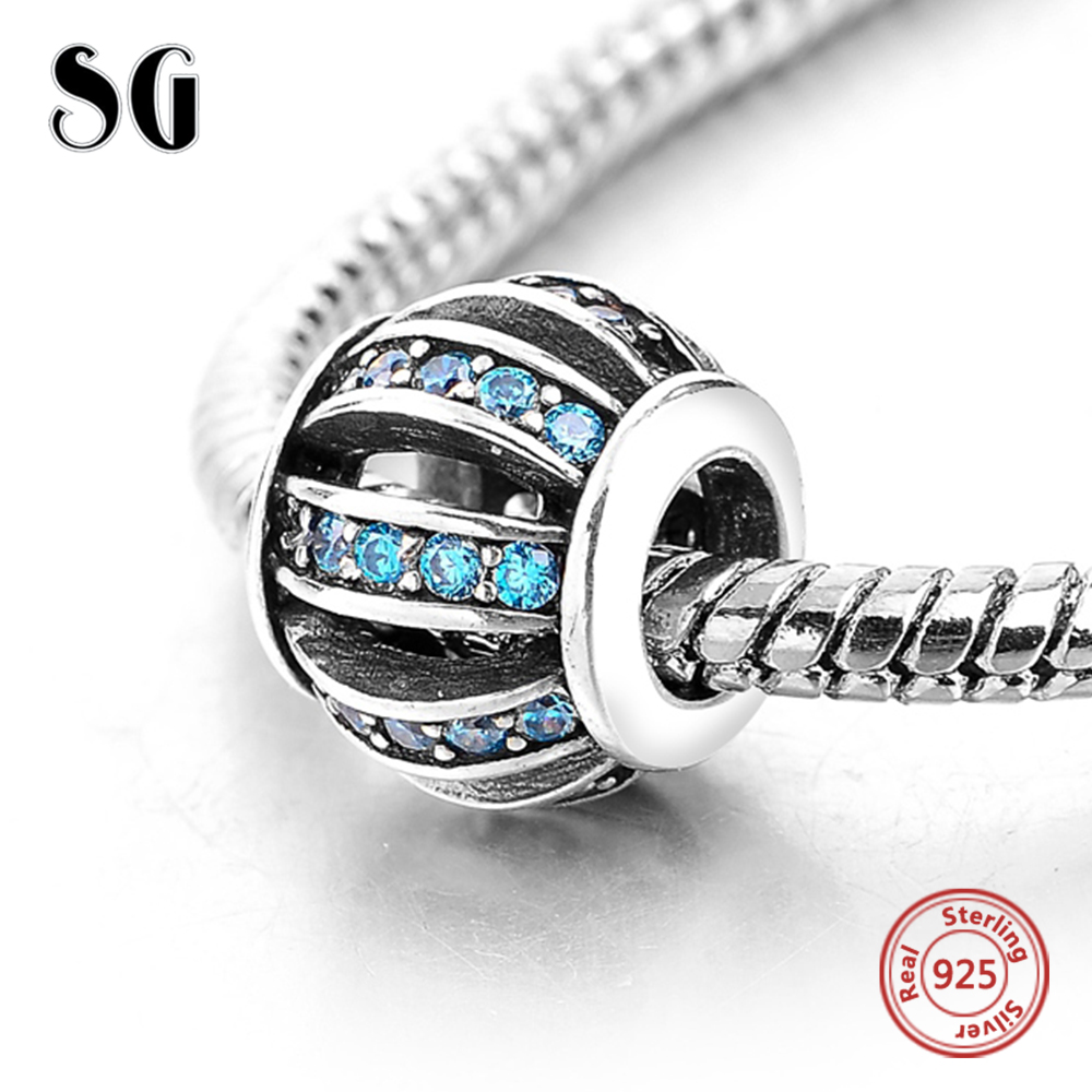 925 Sterling Silver Hollow Pumpkin with Blue Cubic Zirconia Fit Pandora Charms Original Beads For Women Fashion DIY Jewelry Gift