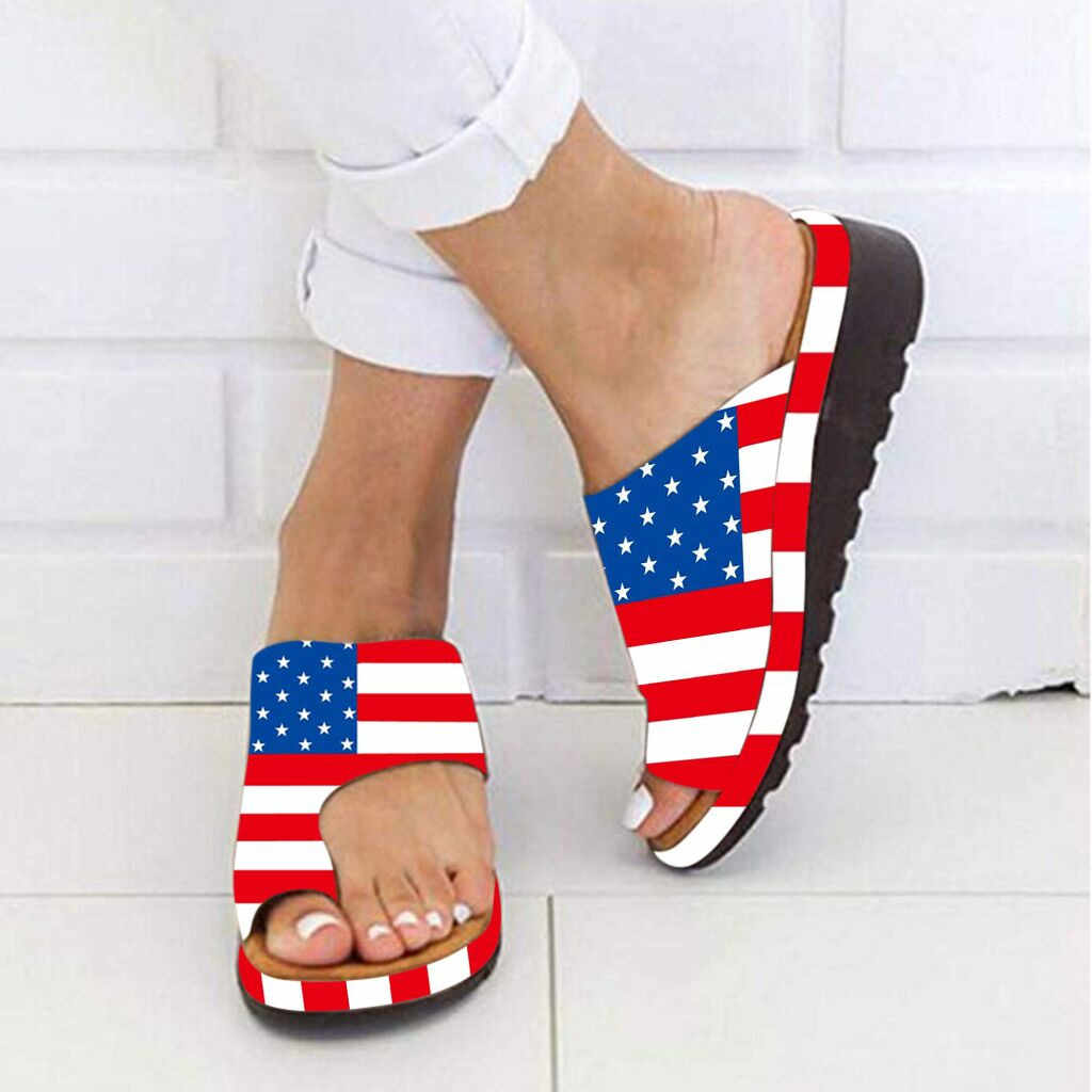 Women Thick Bottomed Sandal Shoes Wedge Heel Sandals Clip Toe Summer Beach Shoes American flag vintage Rubber Round Toe new 611