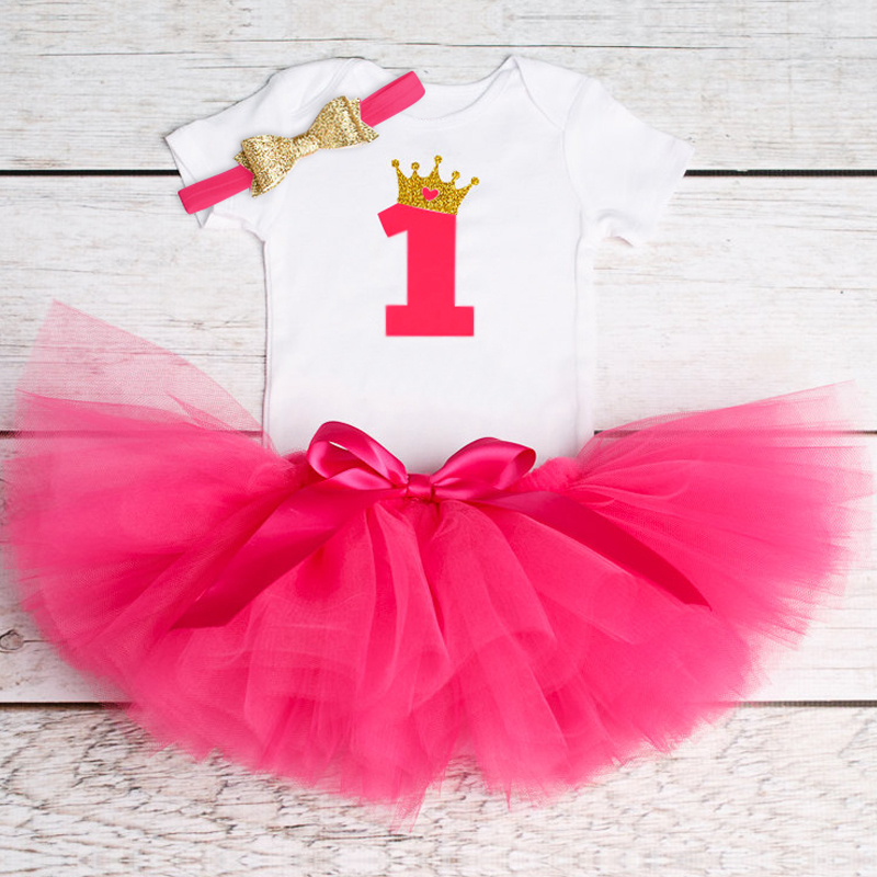 One Year Baby Girl Clothes Newborn Infant Clothing Sets 1st Birthday Outfits Baby Romper Shirt Skirt Headband Kids Toddler Suits
