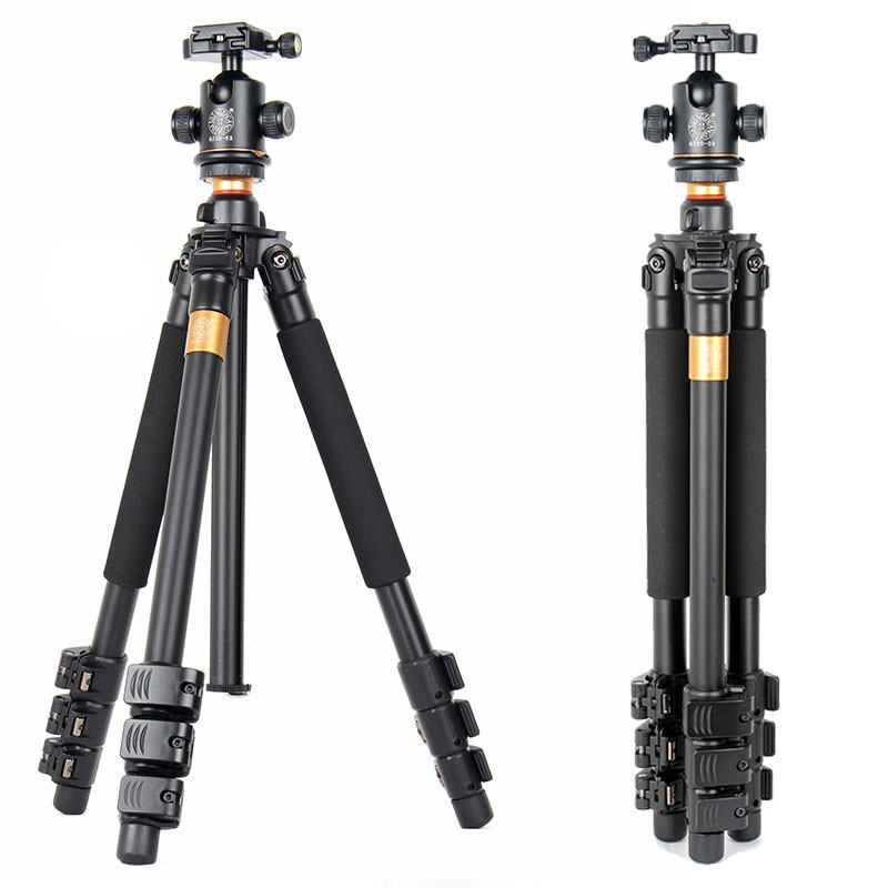 QZSD Q471 Professional Portable Aluminum Tripod With Panoramic Ball head 4 Section Tripode For Canon Nikon Sony DSLR Camera free shipping qzsd q999 portable tripod