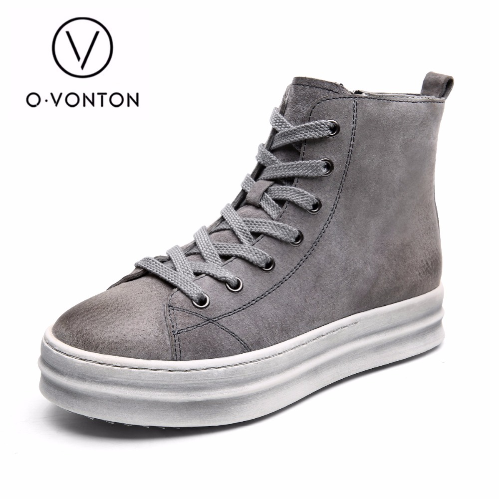 Q.VONTON genuine leather women ankle boots new fashion black/gray 2017 autumn shoes woman warm short boots platform shoes 2017 new fashion black women summer boots genuine leather platform shoes woman bowtie creepers gladiator wedges ankle booties