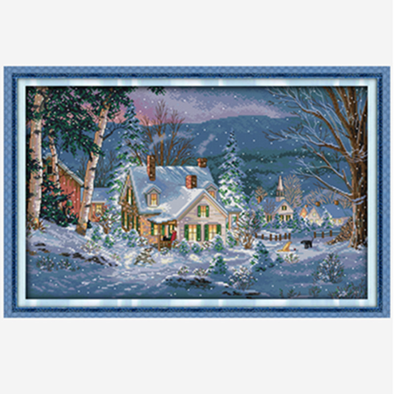 Everlasting love The snowy night of Christmas Ecological cotton Cross Stitch Printed 11CT DIY gift new year decorations for home