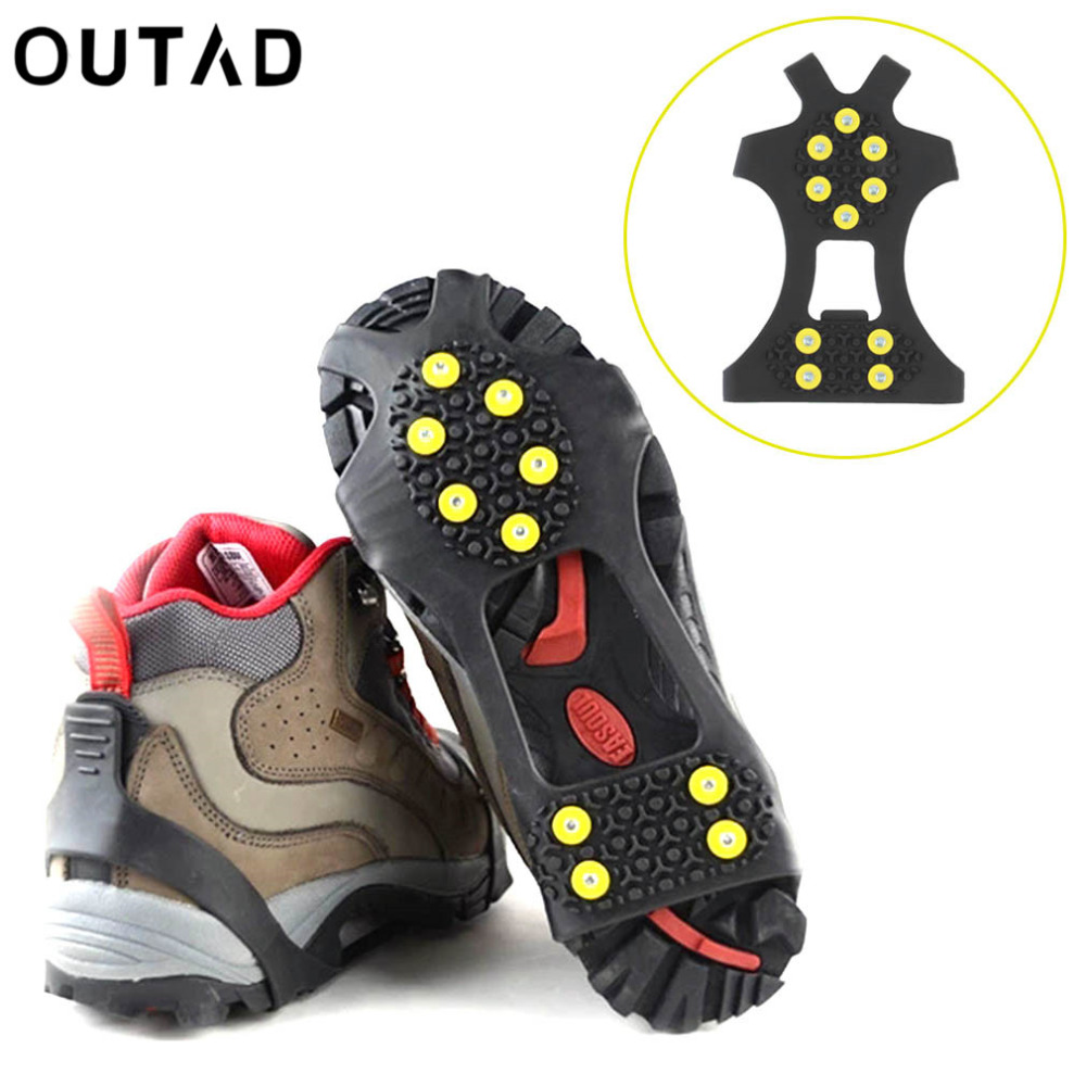 OUTAD 10 Studs Anti-Skid  Ice Crampons Snow Shoe Spikes Thermoplastic Elastomer Climbing Grips Cleats Over Shoes Covers