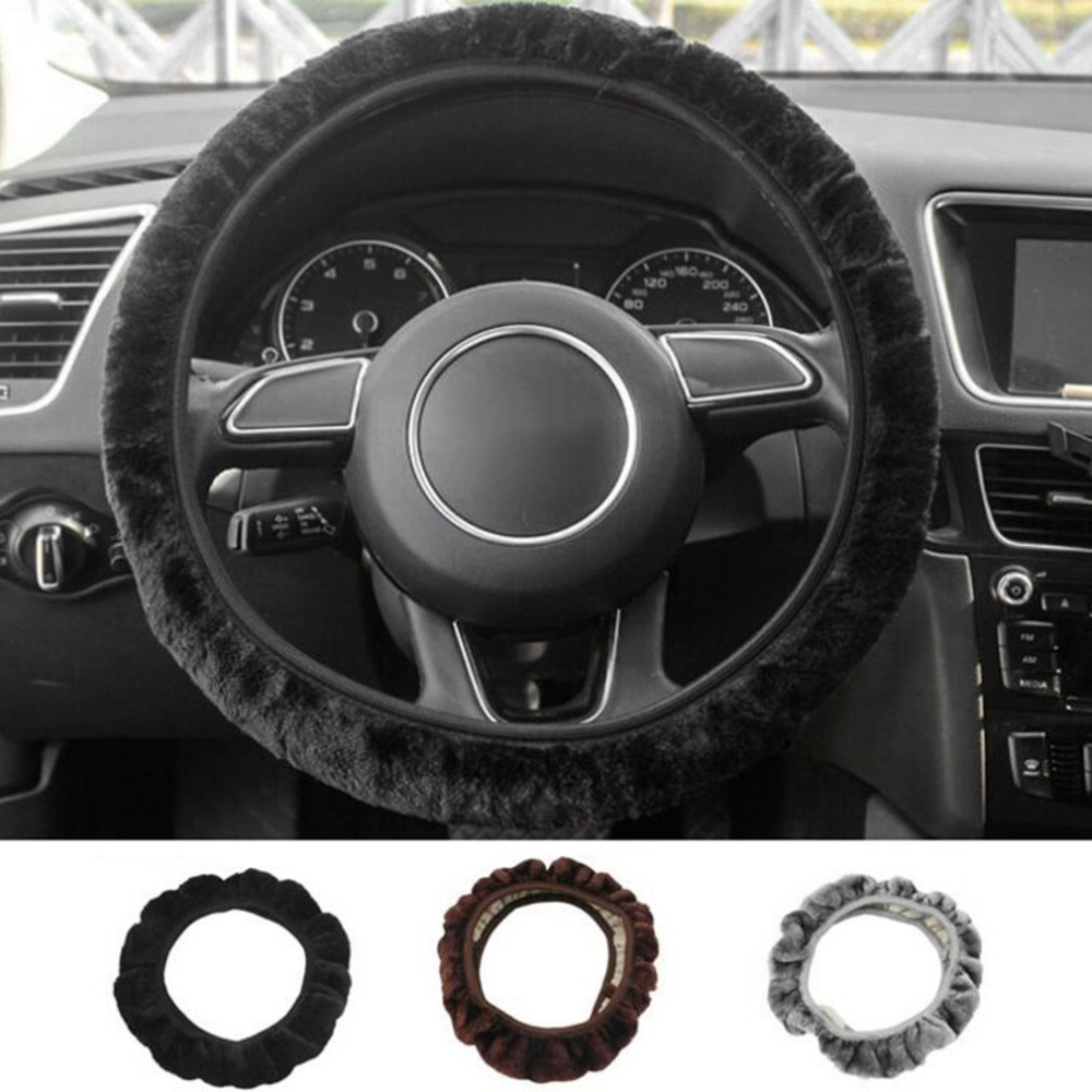 2018 3pcs/Set Automotive Interior Plush Car Steering Cover + Gear Cover + Hand Brake Cover for Driving In Winter Car-styling