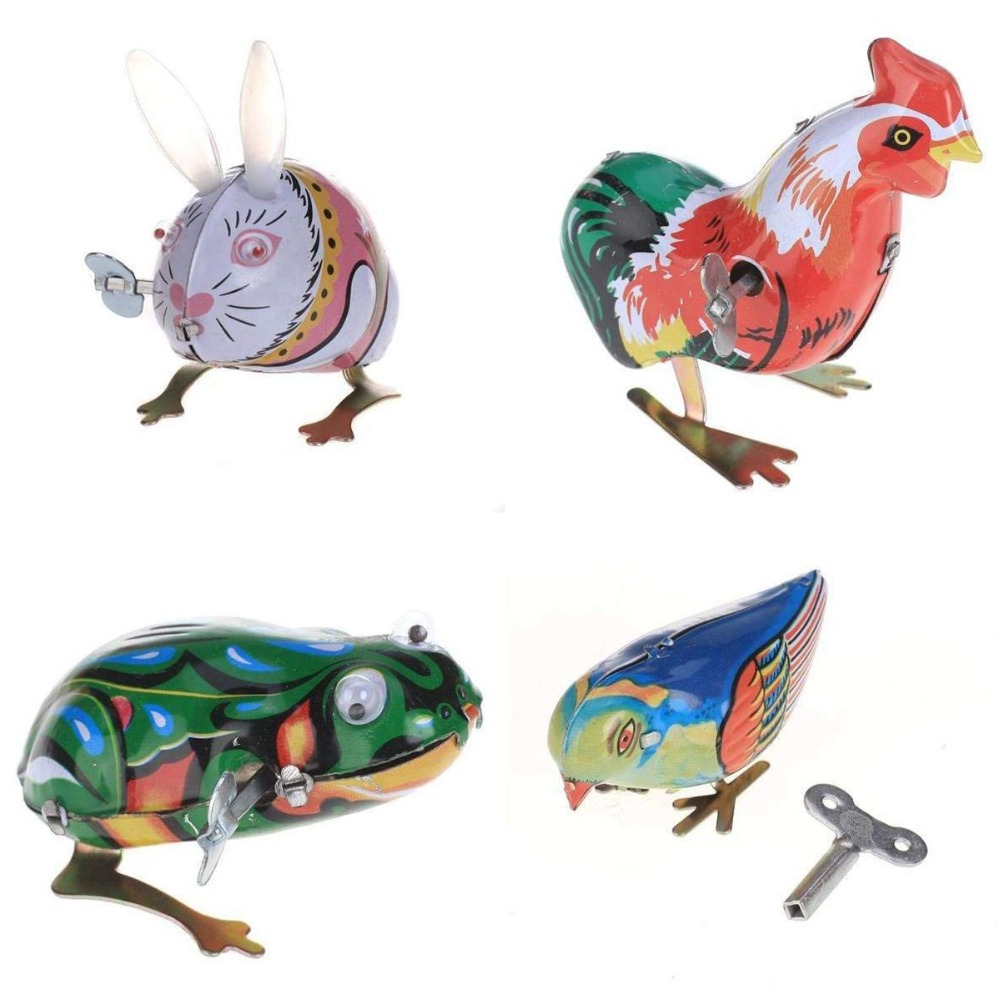4Pcs Kids Classic Tin Wind Up Clockwork Toys Jumping Frog Vintage Toy Action Figures Toy For Children Frog Rabbit Magpie Cock