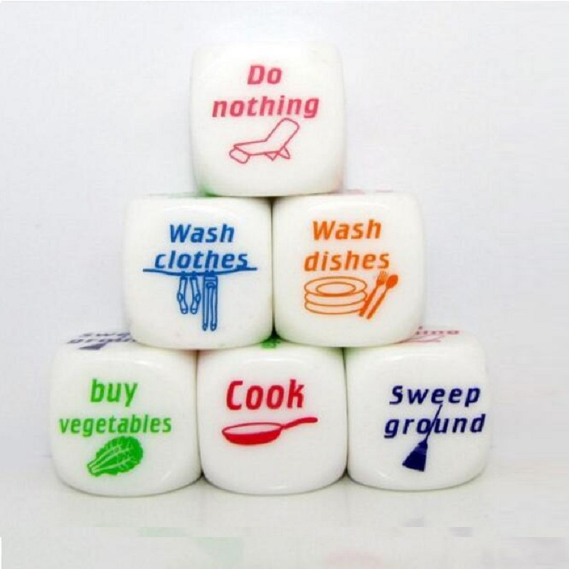 Funny Home Dice housework dice Couples Families Housework Distribution Dice Fun Game Nice Play Gift 25*25mm image