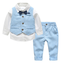 Baby Clothes Set Bow Tie Formal Boy Wedding Suit Shirt +Striped Vest +Pants 3pcs Boy Gentleman Clothes Outfit Birthday Clothing цена