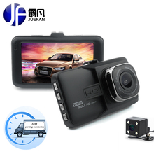 JUEFAN câmera do carro dvr 1080 p traço cam De Alta-definição de vídeo do carro gravador de câmera espelho lente Dupla câmera do carro dvr caixa preta dashcam