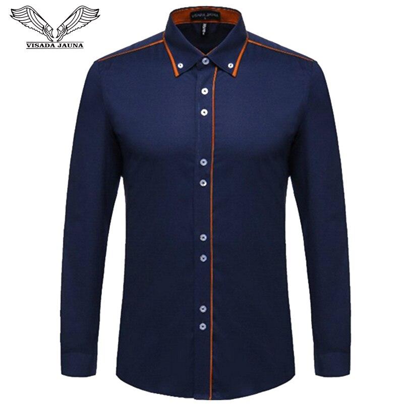 VISADA JAUNA Europäischen Größe Männer der Hemd 2017 Neue 100% Baumwolle Dünne Business Casual Marke Kleidung Langarm Chemise Homme n356