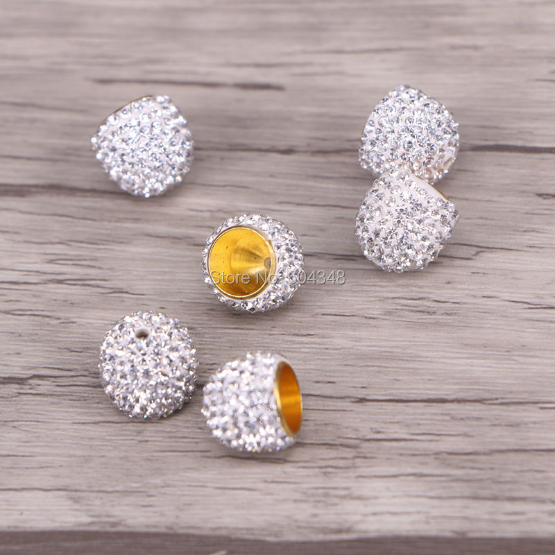 20 pcs Rhinestone Crystal Roundelle Silver Plated Spacer 10mm Bead Caps AC030