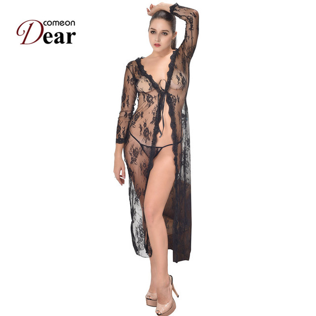 3d877ded5d4 Comeondear Sexy Lace Lingerie Long Dress RJ80232 Plus Size Lace Lingerie  Gown Sexy Robe Sleepwear Black Long Sleeve Nightgowns