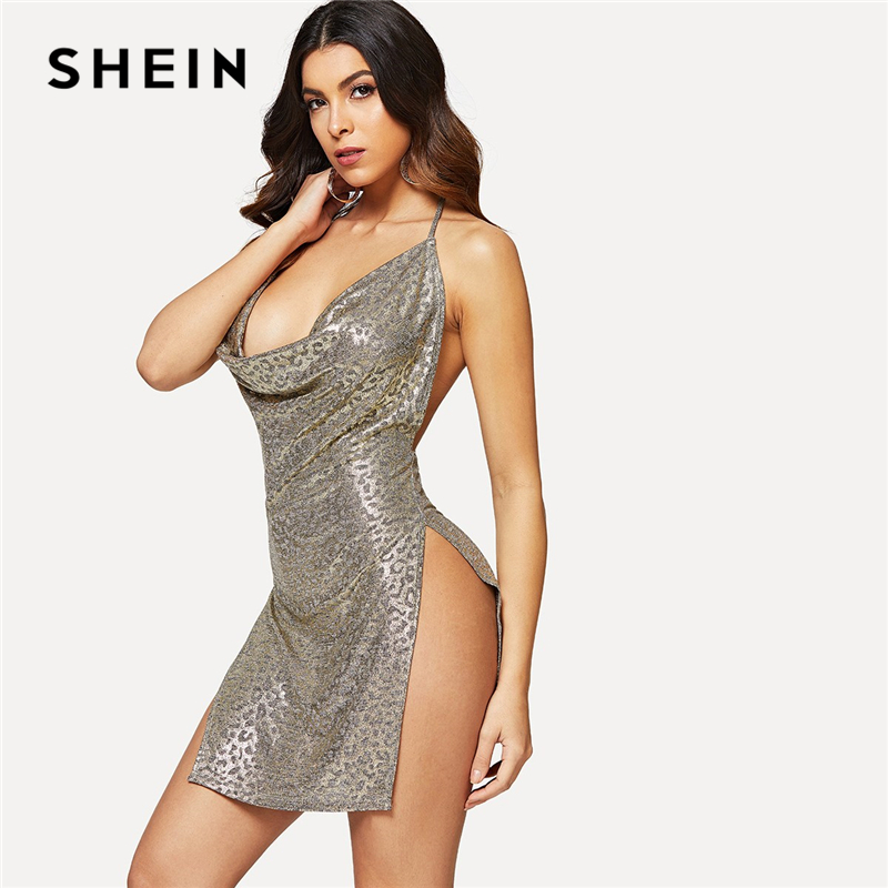 Draped Cowl Neck Dress: SHEIN Going Out Sexy Grey Cowl Neck High Slit Metallic