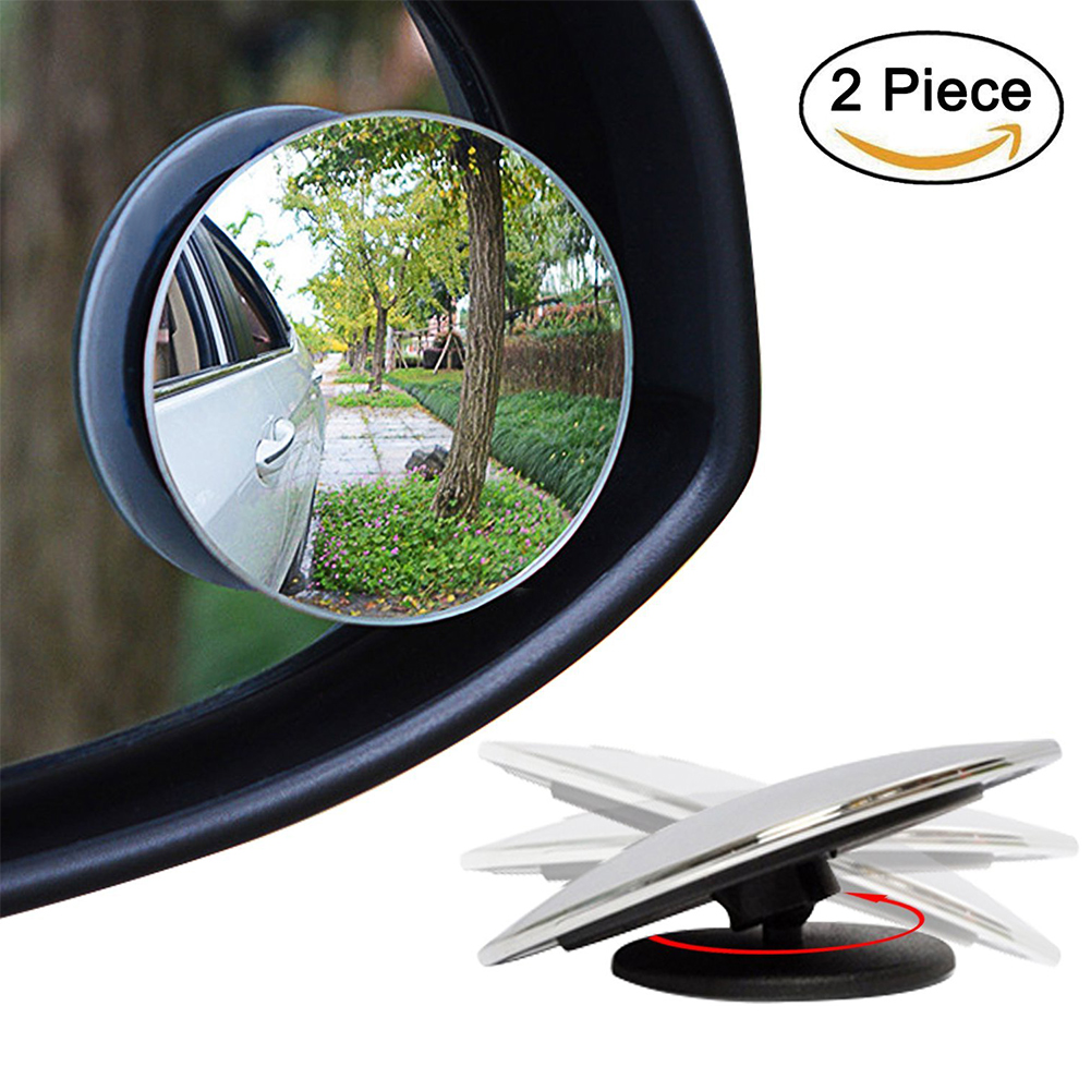 2 Pcs Car Styling 360 Degree Framless Blind Spot Mirror Wide Angle Round HD Glass Convex Rear View Mirrors CSL2017 2 in 1 car blind spot mirror wide angle mirror 360 rotation adjustable convex rear view mirror view front wheel car mirror