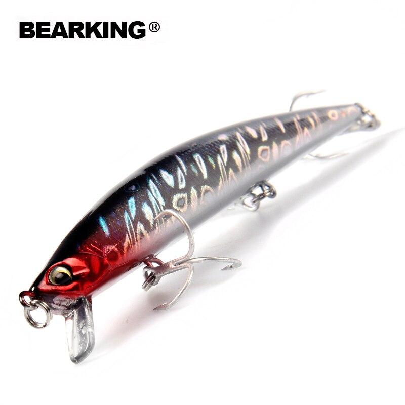 BearKing venta al por menor + Señuelos de Pesca 2016 caliente-venta 140mm/18g tamaño Delgado minnow manivela popper penceil cebo buena calidad