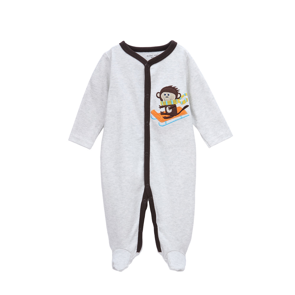 Baby Clothing Sets Long Sleeve Cotton Baby Rompers for Newborn Girls Boys Bear Monkey Print One Piece Onesie Jumpsuit Pajamas