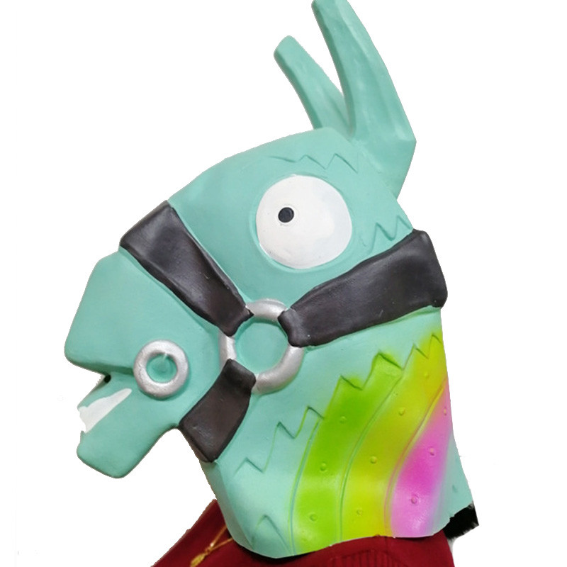 Game Fort Troll Stash Llama Mask Cosplay Fortnited Llama Mask Battle Royal Latex Green/Pink Horse Helmet Halloween Party Props