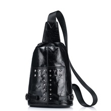 Men's Studded Genuine Wax Oil Leather Sling Chest Pack Casual Shoulder Crossbody Bag Pouch Travel Biking Daypack