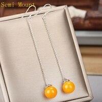 Sterling Silver 925 Pearl Or Round Cabochon 7 10mm Chandelier Hook Earrings Fine Jewelry Women DIY