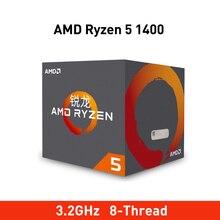 Novo AMD Ryzen 5 1400 R5 1400 3.2GHz Quad Core Oito Thread 65W Soquete Do Processador CPU AM4 Processador para Desktop com selado ventilador refrigerador