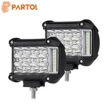 Partol 2Pcs 4″ Work Light Tri-Row LED Light Bar Spot Flood Combo Beam Offroad 4WD 4×4 LED Bar for Pickup Camper Trailer 12V 24V