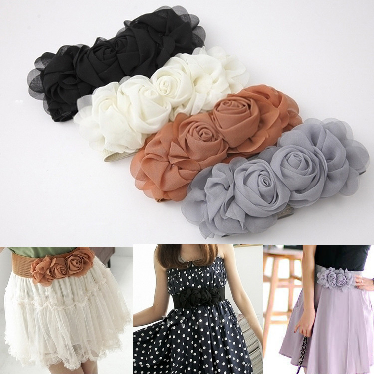 Cummerbund Female Double Flowers Chiffon Women's Decoration Elastic Belt Accounting 2012