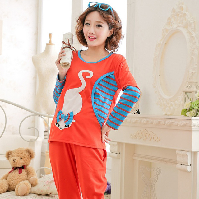 Autumn Maternal Month Clothing Cute Cartoon Postpartum Nursing Maternity  Clothes Pajamas Breast Feeding Nightgown Home Service
