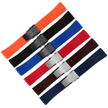 Color Stripe silicone strap 20mm 22mm rubber strap deployment buckle replacement wristband for TICwatch 1 2 E Pro