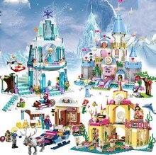 Elsa Ice Castle Princess Anna Little Mermaid Figures Building Blocks Compatible All friends for girl Birthday Toys jg301 316pcs princess elsa ice castle building block sets gift toys compatible friends 41062 for girl